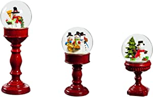 Cypress Home Beautiful Christmas Snowman Pedestal Water Globe Table Top Décor, Set of 3-4 x 4 x 12 Inches Indoor/Outdoor Decoration For Homes, Yards and Gardens