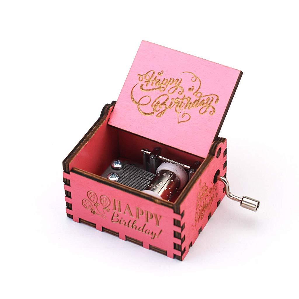 SNOWIE SOFT® Happy Birthday Music Box Hand Crank Carved Wooden Musical Box,Musical Gift,Play Happy Birthday,Pink (B0813D1SB2) Amazon Price History, Amazon Price Tracker