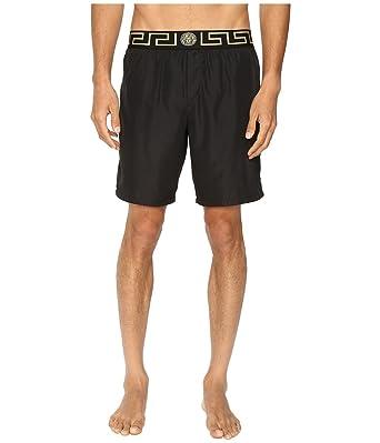 4a3d10725b Amazon.com: Versace Men's Iconic Nylon Swim Short, Black 1 3/SM (US ...