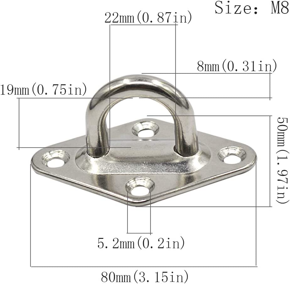 Lumanie 5pcs M5 Lifting Eye Nut Ring Eye Plate Pad Heavy Duty for Yoga Wall Mounted and Deck Rigging 304 Stainless Steel Ellipse Design