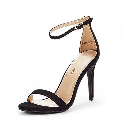 fa8571afb342a2 DREAM PAIRS Women s Karrie Black Suede High Stiletto Pump Heel Sandals Size  5 B(M