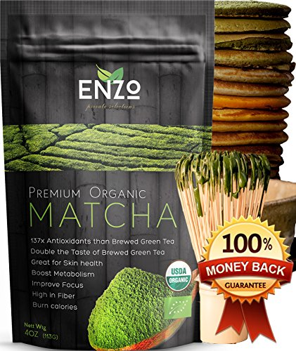 Classic Ceremonial Blend Matcha Green Tea Powder USDA Certified Organic Premium Culinary Maccha Zen Buddhist Grade Teas, Great for Drinking with or without whisk as hot tea, latte and baking