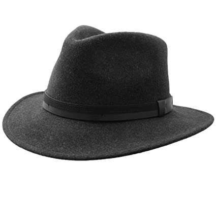 c1c7dba748b11 Classic Italy Men's Traveller III Wool Felt Fedora Hat Packable Water  Repellent Size 54 cm Anthracite
