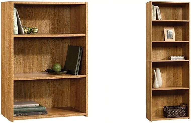 Sauder Beginnings 3-Shelf Bookcase, Highland Oak + Sauder Beginnings 5-Shelf Bookcase, Highland Oak Finish_Bundle