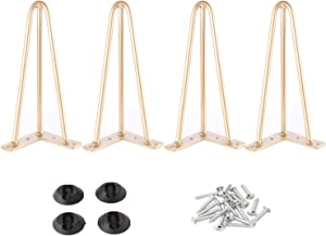 """Osring Metal Hairpin Table Legs 12 Inch, Furniture Leg Gold with 3/8"""" Dia 3-Rod Design, Mid-Century Modern Hairpin Furniture Feet 4pcs with Floor Protectors for Coffee Table and TV Stand"""