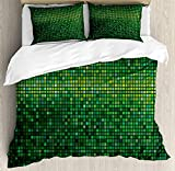 Green Twin Duvet Cover Sets 4 Piece Bedding Set Bedspread with 2 Pillow Sham, Flat Sheet for Adult/Kids/Teen, Abstract Vibrant Square Pixel Mosaic Design Geometric Technology Theme Digital Grid Print