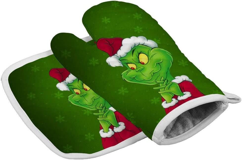 Tukiv Christmas Christmas-The-Grinch Oven Mitts and Pot Holders Sets Heat Resistant Kitchen Gloves Non Slip Hot Pads