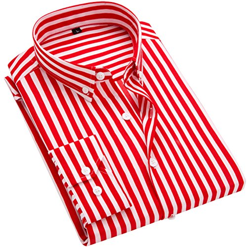 Linen Stripe Dress Shirt (DOKKIA Men's Casual Long Sleeve Vertical Striped Slim Fit Dress Shirts (Red White, X-Large))