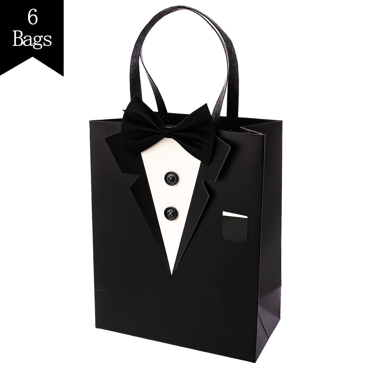 Crisky Classic Black Tuxedo Gift Bags for Groomsman Father's Birthday Anniversary Wedding Favor Bags 10''x8''x4'' Set of 6