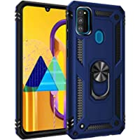 Smfu Case compatible Samsung Galaxy M30S Military Grade Case Military Armor Dual Cover with screen protector 360 Rotating Magnetic Kickstand Holder Drop Tested Protective Shockproof Non-slip Case(Blue)