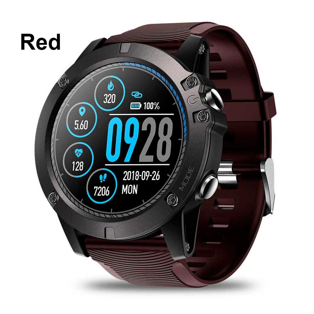 Smartwatch Tactical V5 Touch Screen Smart Watch Men Heart Rate Tracking Sports (Black) (Red)