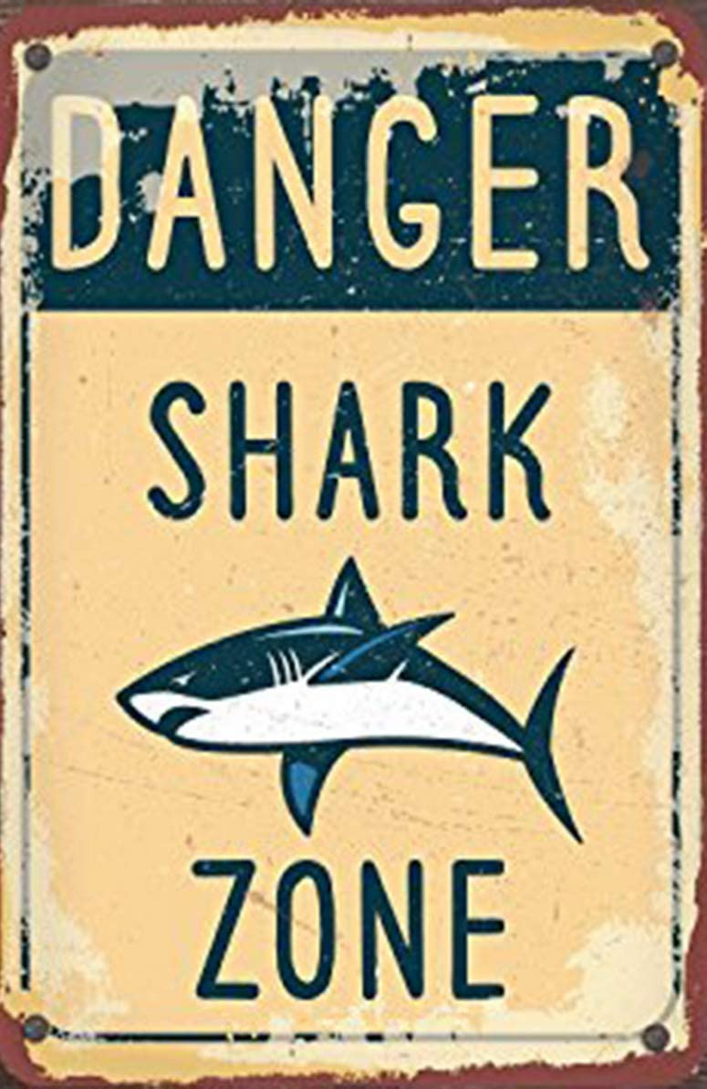 Weytff Danger Shark Zone Danger Metal Sign Home Pub Wall Decor