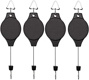 4 Pack Plant Hook Pulley, Retractable Plant Hanger Easy Reach Hanging Flower Basket for Garden Baskets Pots and Birds Feeder Hang High up and Pull Down to Water Or Feed (4)