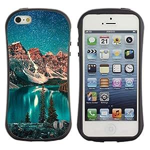 Suave TPU GEL Carcasa Funda Silicona Blando Estuche Caso de protección (para) Apple Iphone 5 / 5S / CECELL Phone case / / Lake Stars Night Teal Sky Alaska Winter /