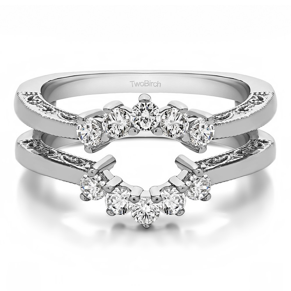 TwoBirch 0.5 ct. Cubic Zirconia Double Shared Prong Wedding Ring Guard in Sterling Silver (1/2 ct. twt.)