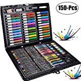 Art Set, Legendog 150 Pcs Deluxe Art Set for Drawing and Painting, Multi Drawing Set Colored Pens Marker Pens Crayons with Carrying Case for Students & Kids Painting Highlighting and Underlining