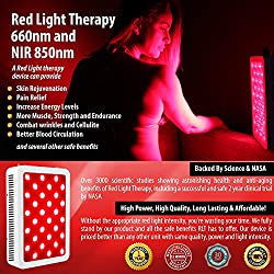 Red Light Therapy Device - LED Therapy Light 660nm to Near Infrared 850nm for Back, Muscle, Joint, Shoulder and Neck Pain Relief - Improved Blood Circulation and Skin - Helps Fight Hair Loss - 300W