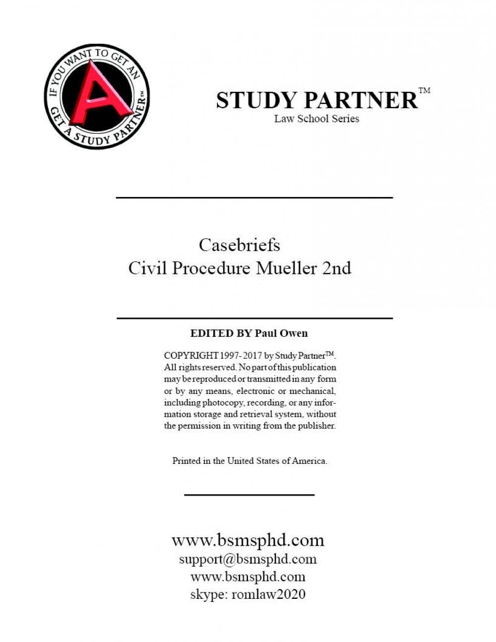 Download Casebriefs for the casebook Twenty-First Century Procedure 2nd Edition Mueller 9781454876649, 1454876646 ebook