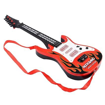 Wolfbush Banda Rock Música Guitarra Eléctrica 4 Cuerdas Niños Instrumentos Musicales Juguete Educativo - Llama Roja: Amazon.es: Juguetes y juegos