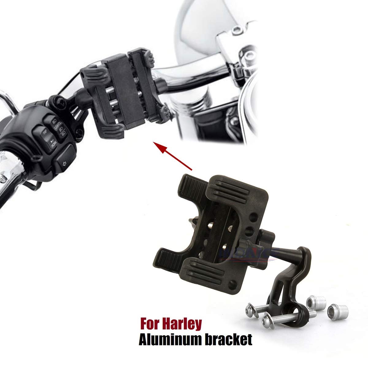 For harley Handlebar Cell Phone Holder GPS MP3 Bracket #76000537 and #76000549 Dyna softail Road King Street Glide sportster tri CVO