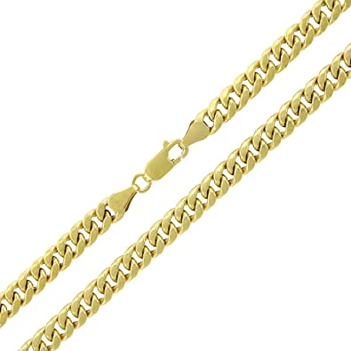 53fa9534bd5af 10k Yellow Gold 5.5mm Hollow Miami Cuban Curb Link Thick Necklace ...