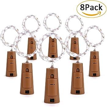 Wine Bottle Lights Natural Cork Base, 6 Pcs 2ft/15 LED Cork Lights ...