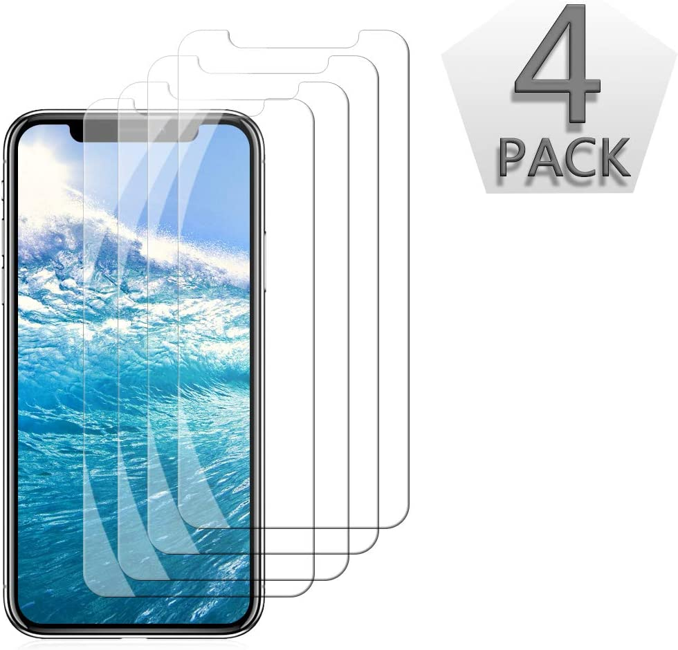 [4-Pack] Screen Protector Compatible with iPhone Xs, iPhone X, 5.8 Inch Tempered Glass Screen Protector with Advanced Clarity, 3D Touch, Case Friendly