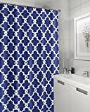 Moldiy Geometric Patterned Shower Curtain, Blue Fabric Shower Curtains 72 by 72 inches-Blue