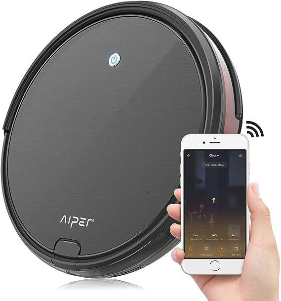 Aiper V2 – Robot aspirador con aplicación de control automático, aspirador para mascotas, alfombras, suelos duros, sensores de caída, 550 ml, robot aspirador ultraplano Negro-02.: Amazon.es: Hogar