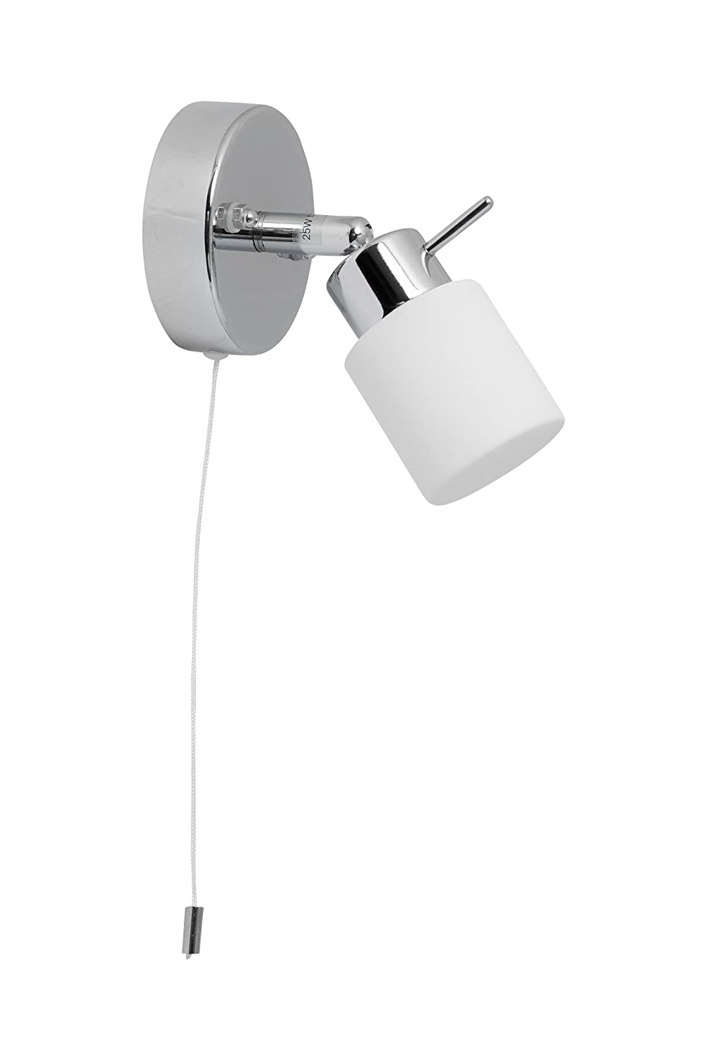 Pair Of Modern Polished Chrome Ip44 Bathroom Wall Lights With Pull Cord Switch For Bathrooms Light Pullswitch On Off