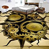 Ohcde Dheark Customized 3D Metal Mechanical Gear Crack Floor Mural Living Room Bedroom Bathroom Floor Backdrop Pvc Self-Adhesive Wallpaper 300Cmx210Cm(118.1 By 82.7 In)