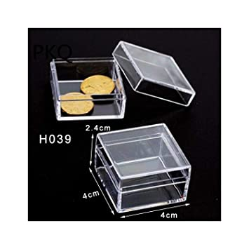Small Square Transparent Plastic Jewelry Storage Box Beads Crafts Case Container
