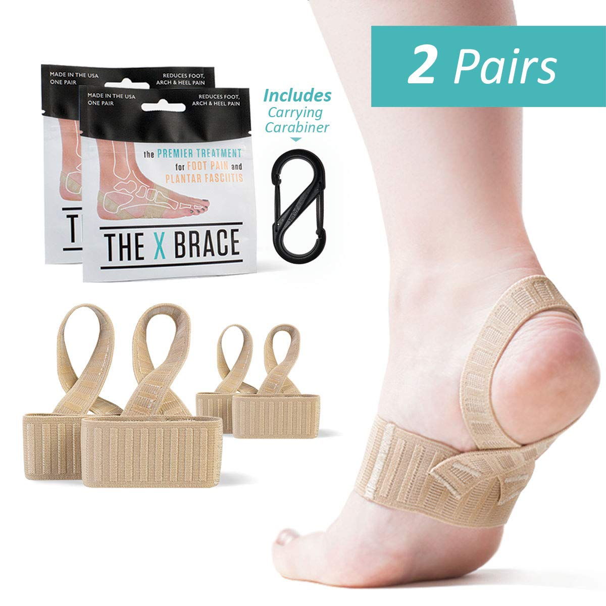 The Original X Brace - Arch Support Brace and Compression for Plantar Fasciitis, Sever's Disease, Flat Feet, Fallen Arches, Over-Pronation and Heel Pain, Logo Free - Medium (2-Pairs) by The X Brace