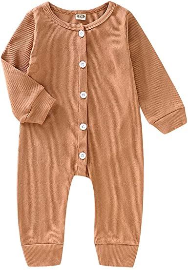 Newborn Baby Boys Girls Long Sleeve Romper Solid Button Jumpsuits Knitted Ribbed One Piece Bodysuit Fall Winter Clothes