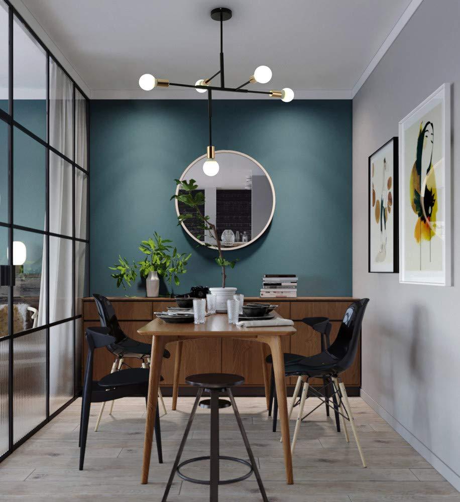 BOKT Mid Century 5 Light Adjustable Chandelier Pendant Black Golden Lamp Base Sputnik Chandelier Rustic Ceiling Light Flush Mount for Kitchen Dining Room Hallway Foyer