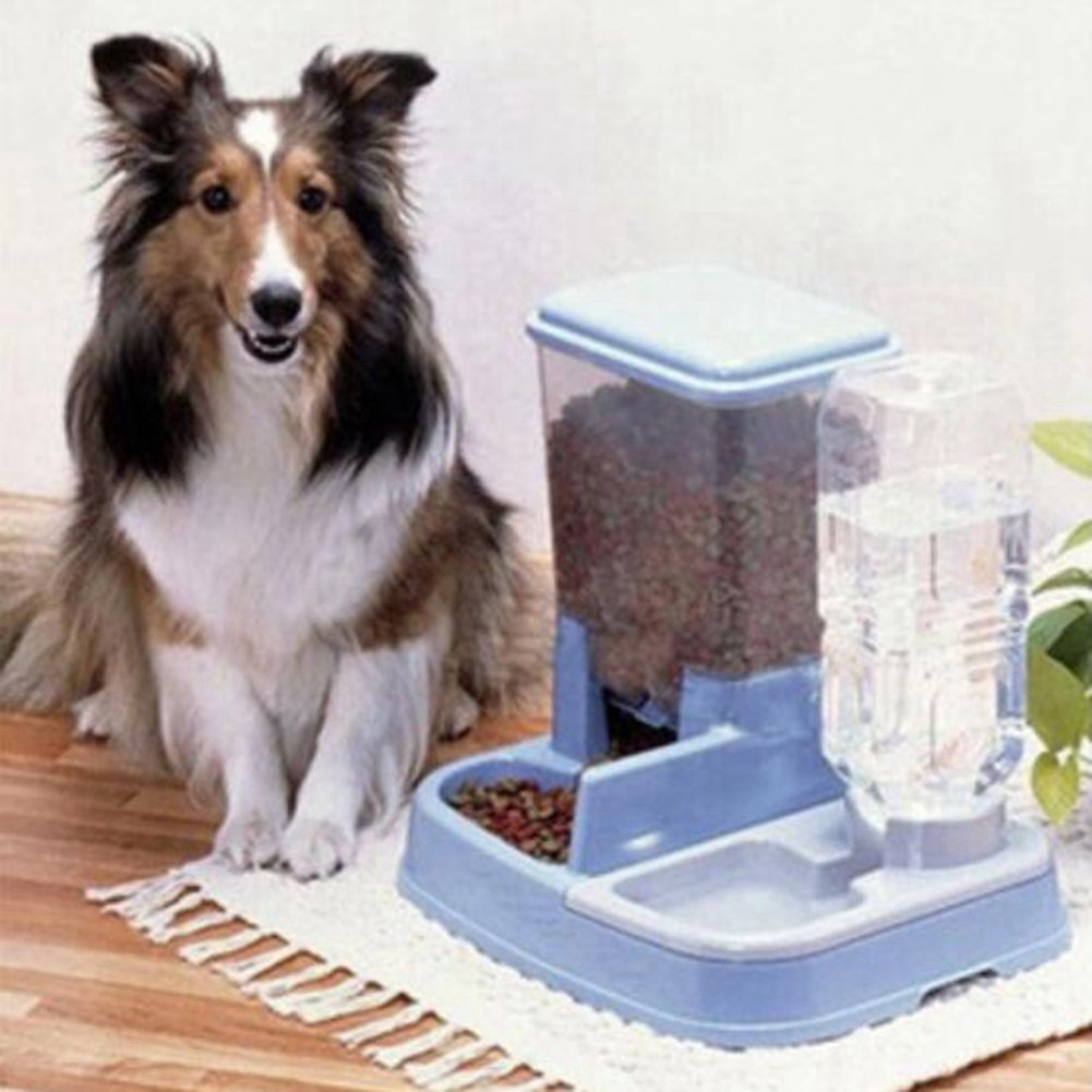 WW Pet Feeder Waterer Automatic 2 In 1 Food Water Bowl For Cats And Dogs,Blue by CW&T (Image #3)