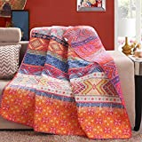 "Luxury Reversible 100% Cotton Multicolored Boho Stripe Quilted Throw Blanket 60"" x 50"" Machine Washable and Dryable"