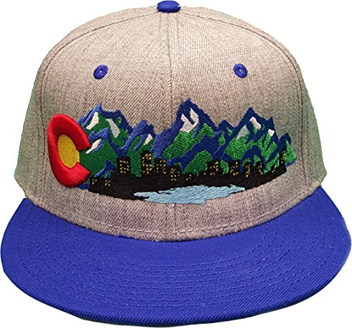 Colorado Flag Mountains Denver Skyline City Lights Cherry Creek Lake Design Snap Back One Size Fits All Flat Bill C Raised Embroidery (Heather Gray Crown/Blue - Cherry Creek Shops