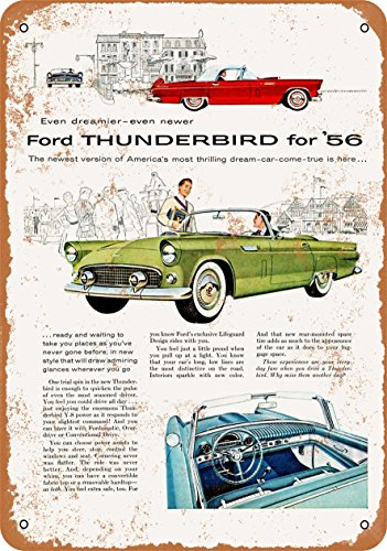 Wall-Color 7 x 10 Metal Sign - 1956 Ford Thunderbirds - Vintage Look - Ford Thunderbird Color