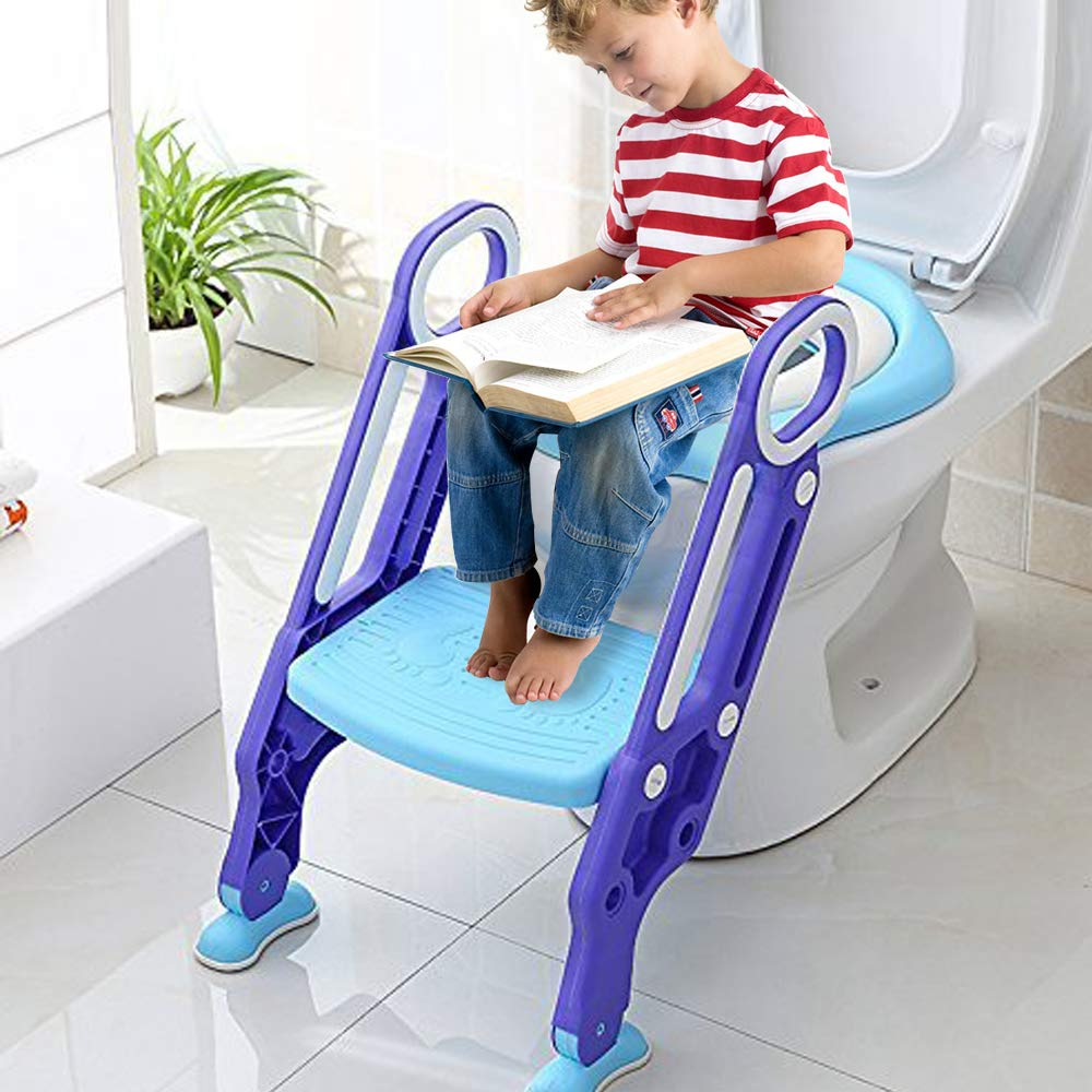 Adjustable Potty Training Seat Kid with Ladder - One Extra Toilet Seat Toddler Toilet Seat Baby Sturdy Non-Slip Potty Ladder for Toddlers Boy Girl (Blue) Evaky