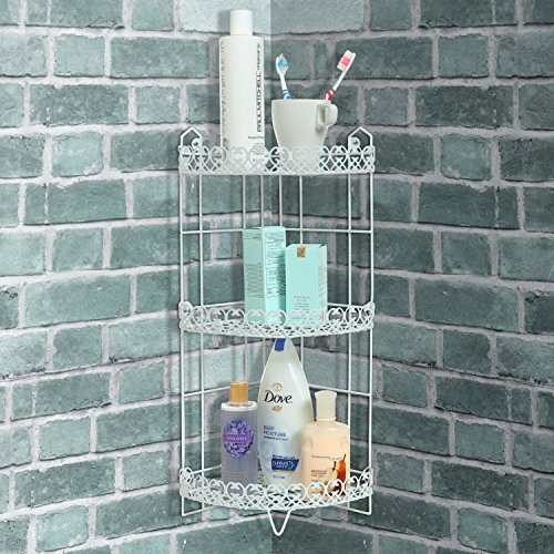 3 Tier Free Standing Corner Bathroom Storage Shelf Rack Shower Caddy, White  Best
