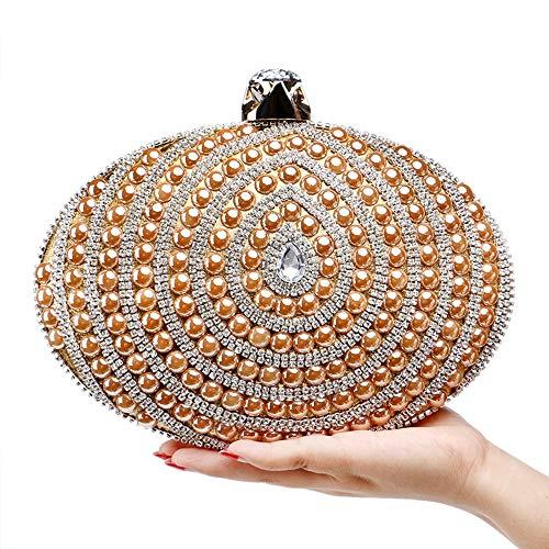 Ir Monedero Ladies Color Compras De Gold Oval Noche Clutch Bag Elegante Simplicidad Boda Ball Champagne Nupcial Las Rhinestone Bolso Perla Prom Bodas Adecuado Para Fiestas Negro Mujeres gqzaaHw