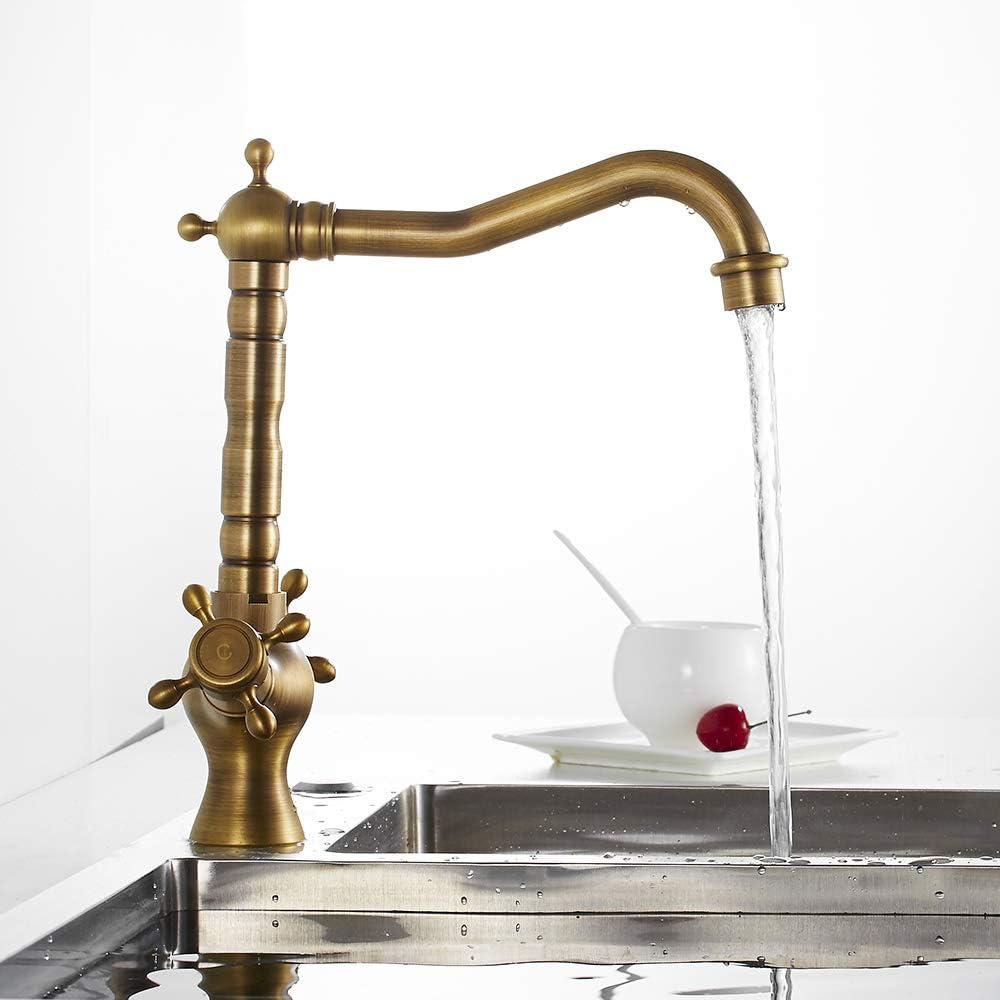 Robinet de Lavabo Double Poign/ée en Laiton Cuivre Vintage Mitigeur M/élangeur de Cuisine Pivotant /à 360/° Bronze Ancien