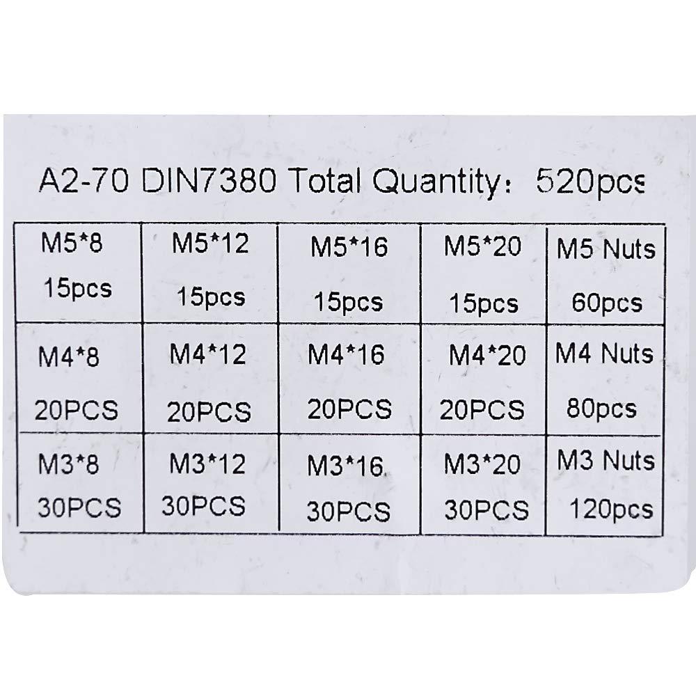 520Pcs M3 M4 M5 Stainless Steel Screw Nuts Bolt Cap Socket Head Screws Set New High Performance