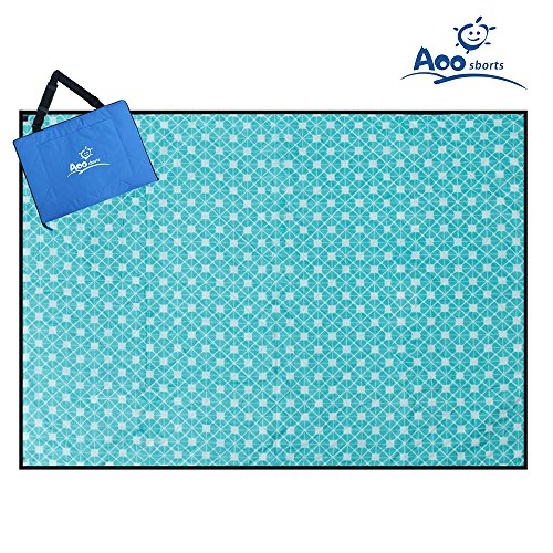 Aoosborts Picnic Blanket Water Resistant, Beach Blanket Sand Proof, Wind Proof with Stakes,Machine Washable Outdoor Blanket Mat
