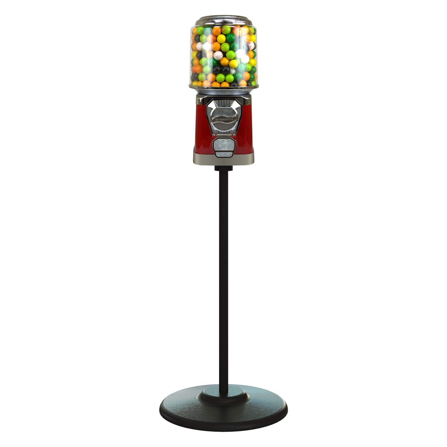Gumball Machine with Stand - Red Home Vending Machine Bundled with 5 Lb Gumballs - Cylinder Bank Bubble Gum Machine for Kids - Commercial Gumball Capsule Bouncy Ball Machine