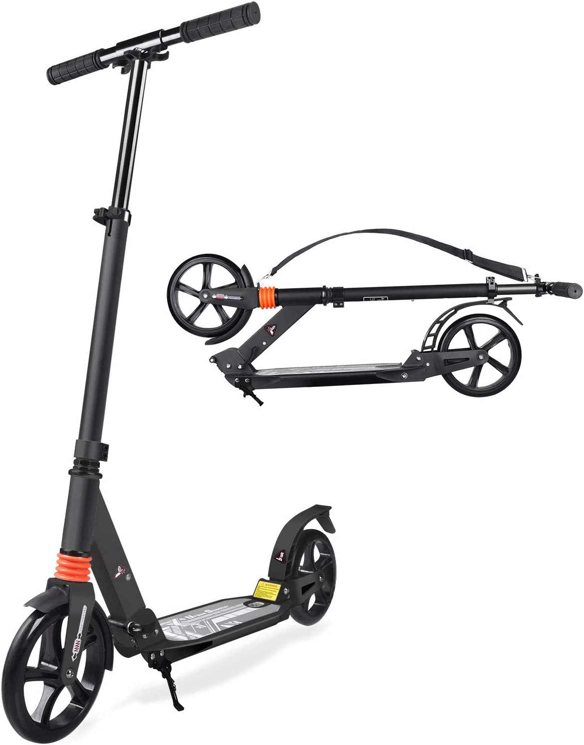 TABKEER Scooter for Adults Teens – Aluminum Alloy Foldable Adult Scooter Adjustable Height Handlebars and Kickstand with 8 inches Big Wheels Lightweight Scooters Gift for Family