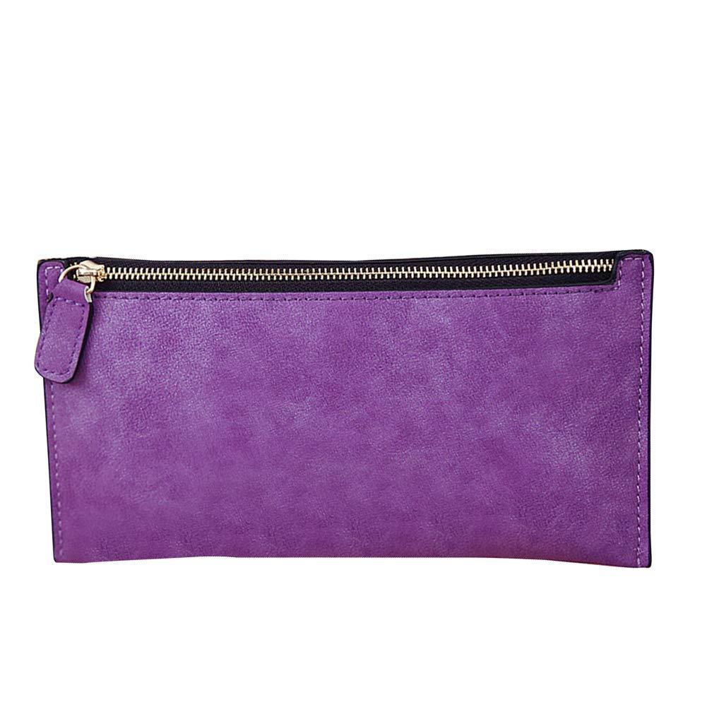 Connoworld Fashion Solid Color Matte Faux Leather Zipper Women Long Purse Pouch Card Holder Wallet Clutch Key Cash Coin Bag