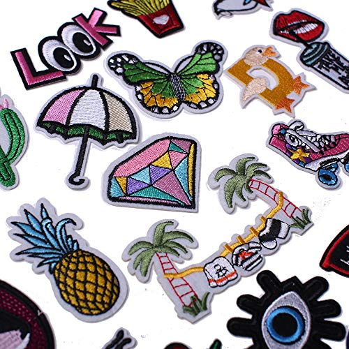 J.CARP Embroidered Iron on Patches, Cute Sewing Applique for Clothes Dress, Assorted for Girls 40PCS