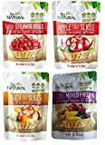 So Natural Freeze Dried Fruit Variety Pack: Strawberry, Apple, Peach, Mixed Fruit 4 Pack Bundle 0.7 Oz Each